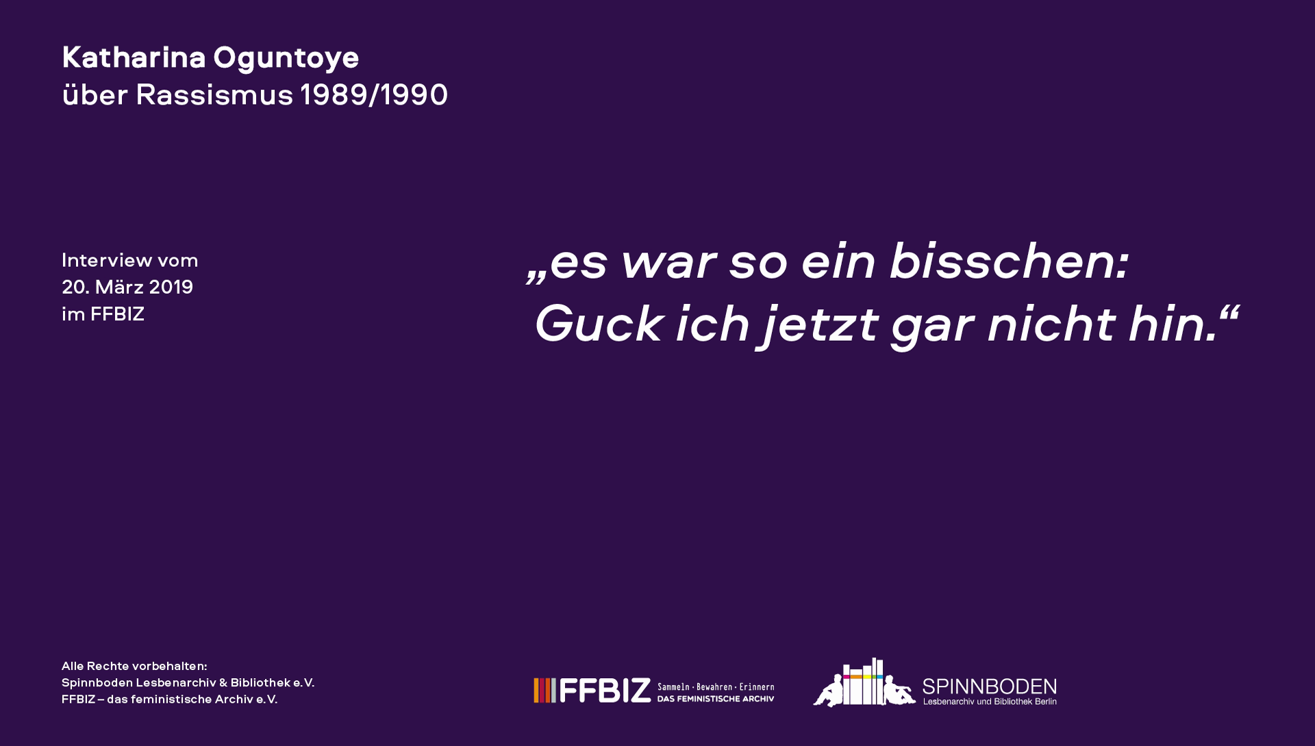 """Interview mit Katharina Oguntoye im Rahmen des Projektes """"Friedliche Revolution""""? Lesbisch-feministische Perspektiven auf 1989"""