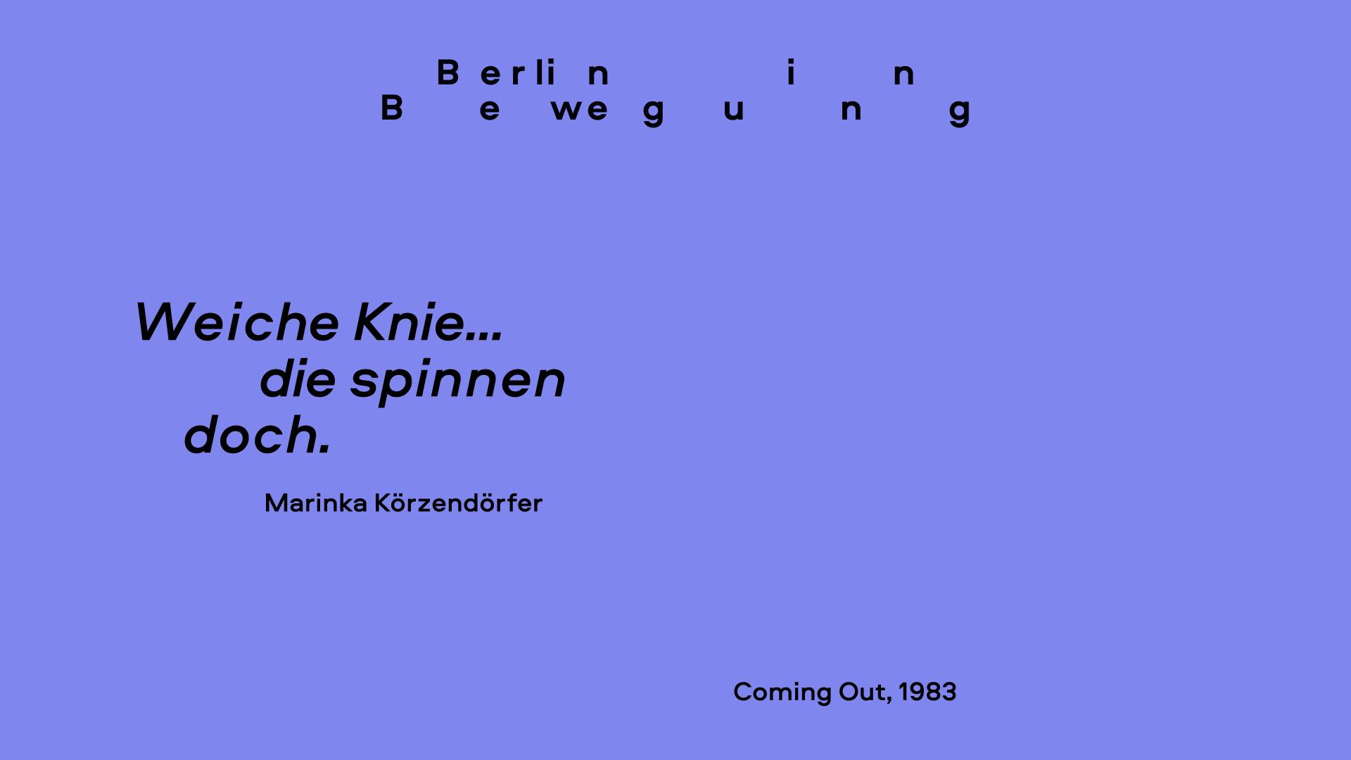Zeitzeug*innen-Interview mit Marinka Körzendörfer im Rahmen des Projektes Berlin in Bewegung