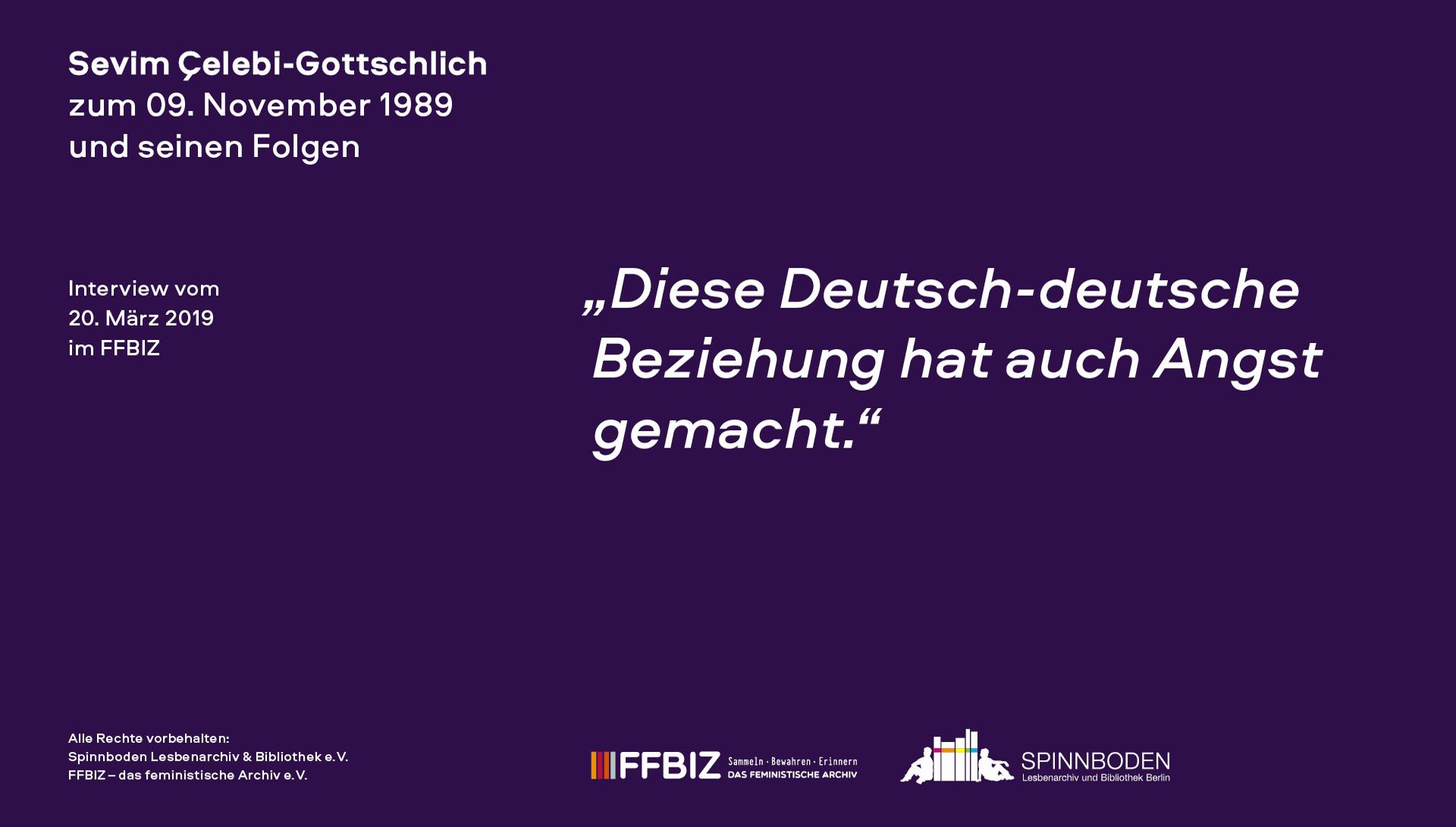 """Interview mit Sevim Çelebi-Gottschlich im Rahmen des Projektes """"Friedliche Revolution""""? Lesbisch-feministische Perspektiven auf 1989"""